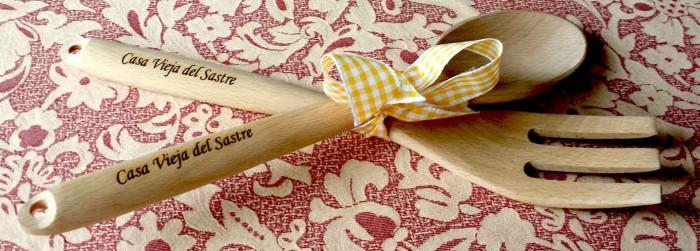 tenedor y cuchara madera
