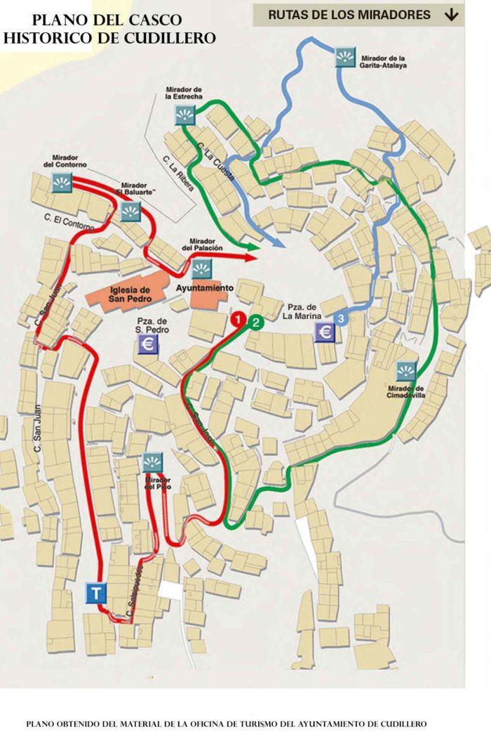 Mapa con rutas para caminar por Cudillero