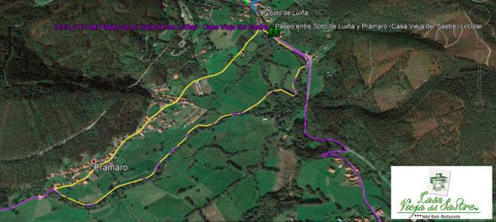mapa ruta corta Valle de las Luiñas